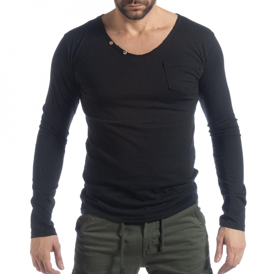 Ανδρική μαύρη μπλούζα Vintage στυλ it040219-83