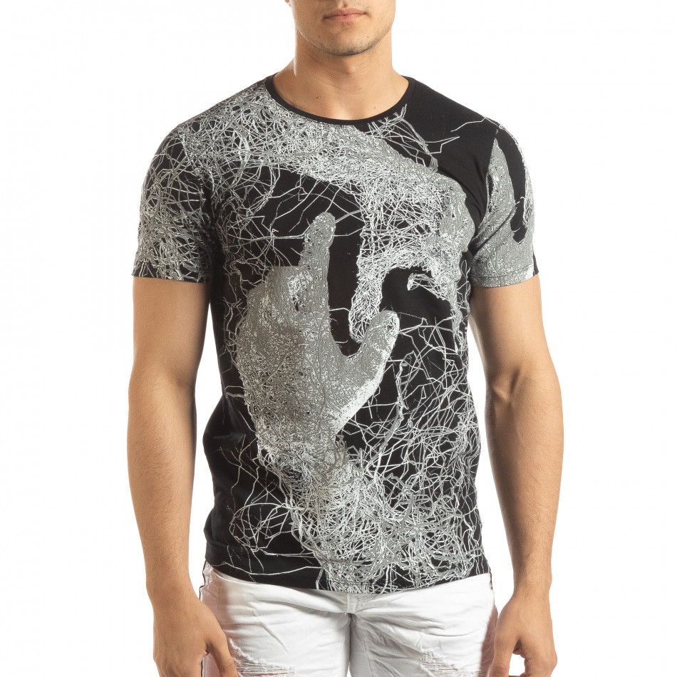 Ανδρική μαύρη κοντομάνικη μπλούζα με πριντ it150419-75