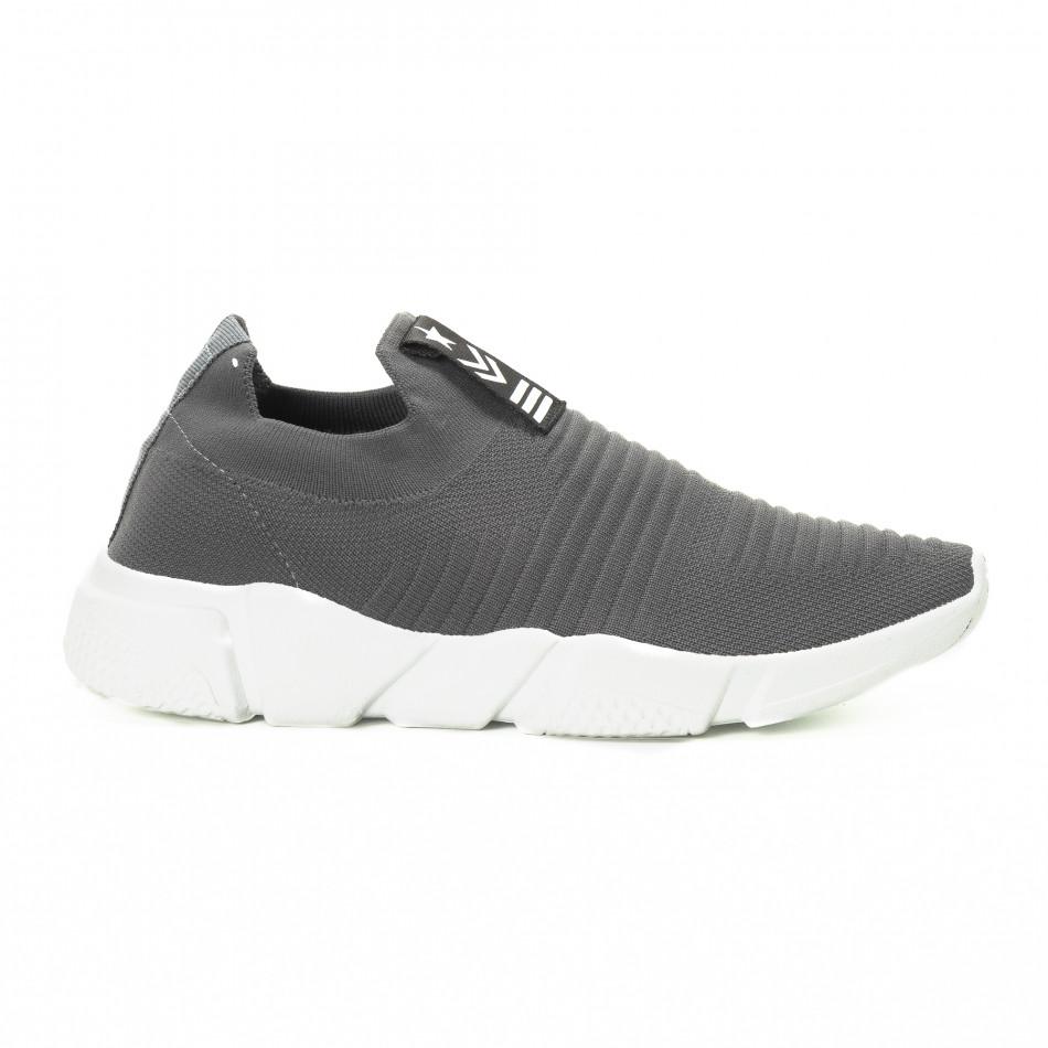 Ανδρικά γκρι αθλητικά παπούτσια Slip-on it221018-33