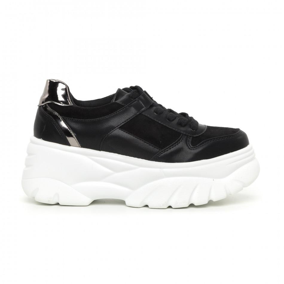 Γυναικεία Chunky αθλητικά παπούτσια μαύρα με πλατφόρμα it130819-36