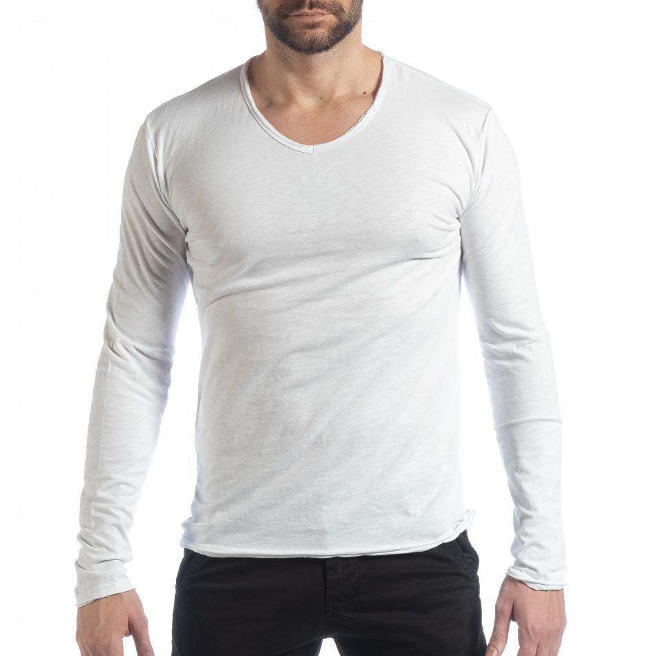 Ανδρική λευκή μπλούζα V-neck it040219-89