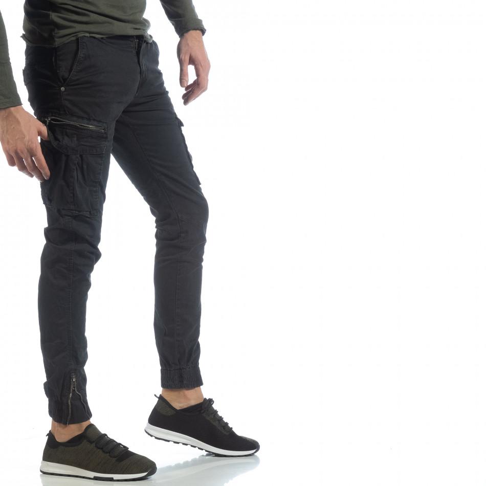Ανδρικό μαύρο παντελόνι cargo με φερμουάρ it040219-34