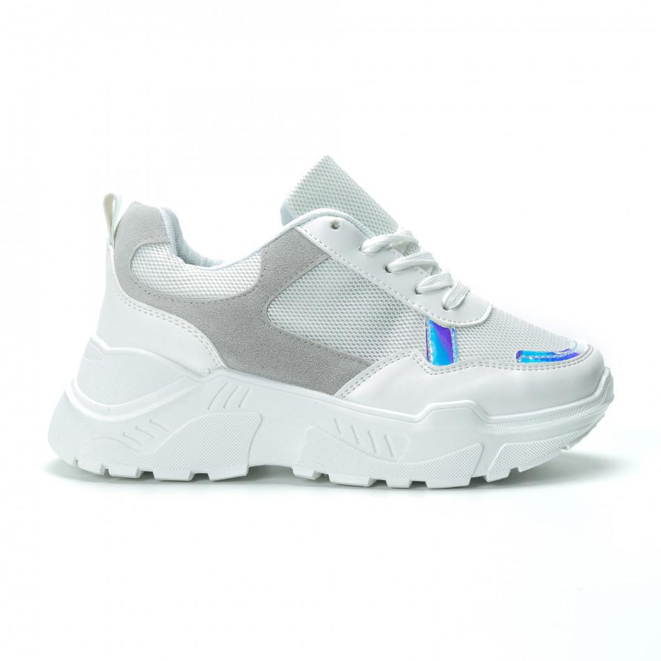 Γυναικεία λευκά sneakers με πλατφόρμα it250119-37