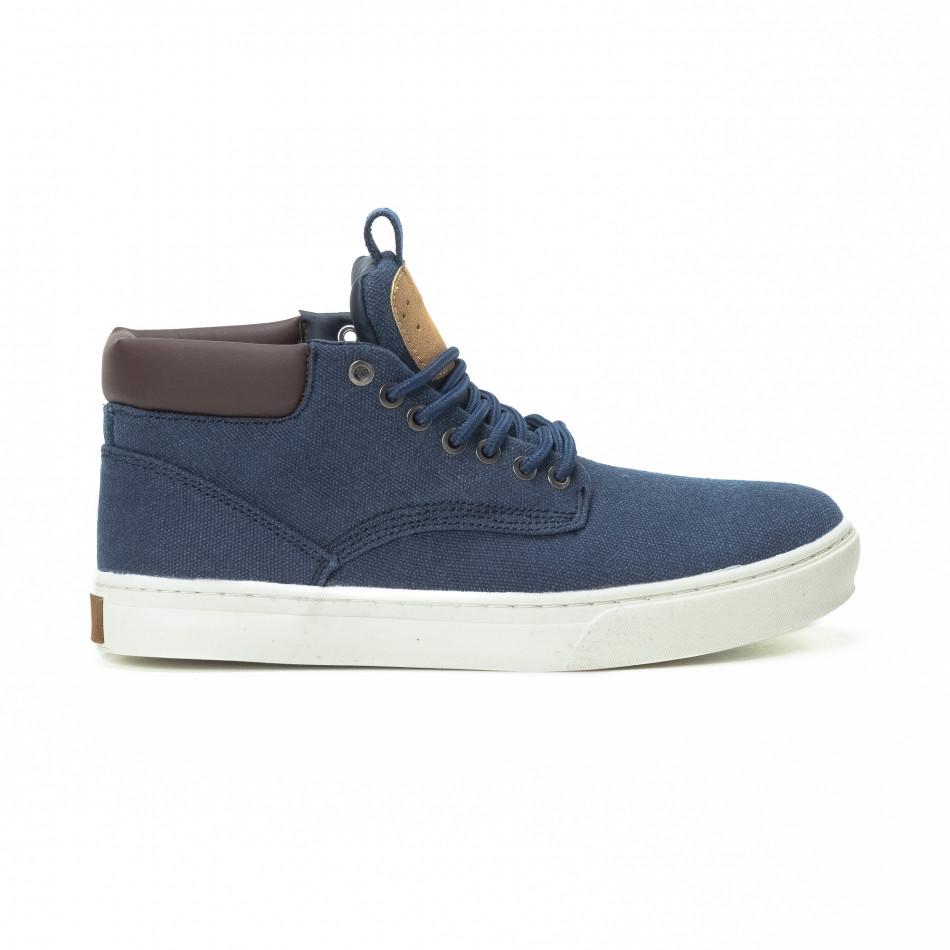 Ανδρικά μπλε υφασμάτινα sneakers με δερμάτινη λεπτομέρεια it150818-19