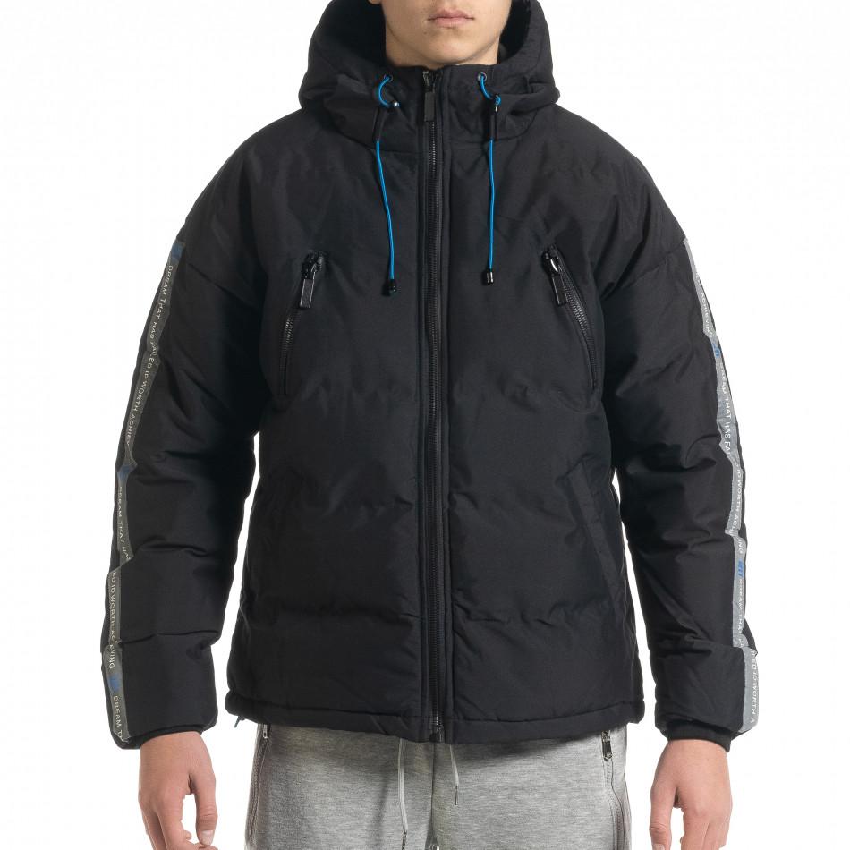 Ανδρικό μαύρο καπιτονέ  χειμωνιάτικο μπουφάν με κουκούλα it091219-14