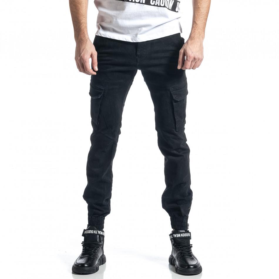 Ανδρικό μαύρο παντελόνι cargo Jogger it010221-43