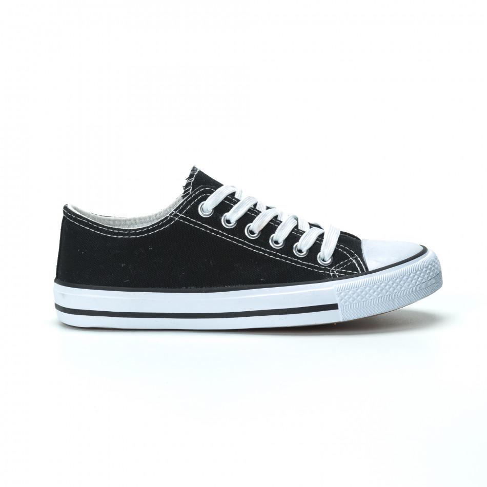 Γυναικεία μαύρα sneakers κλασικό μοντέλο it250119-70
