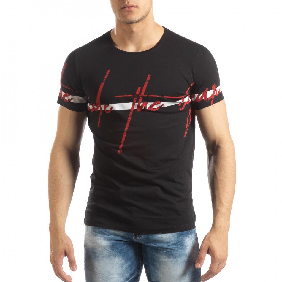 Ανδρική μαύρη κοντομάνικη μπλούζα με πριντ it150419-103