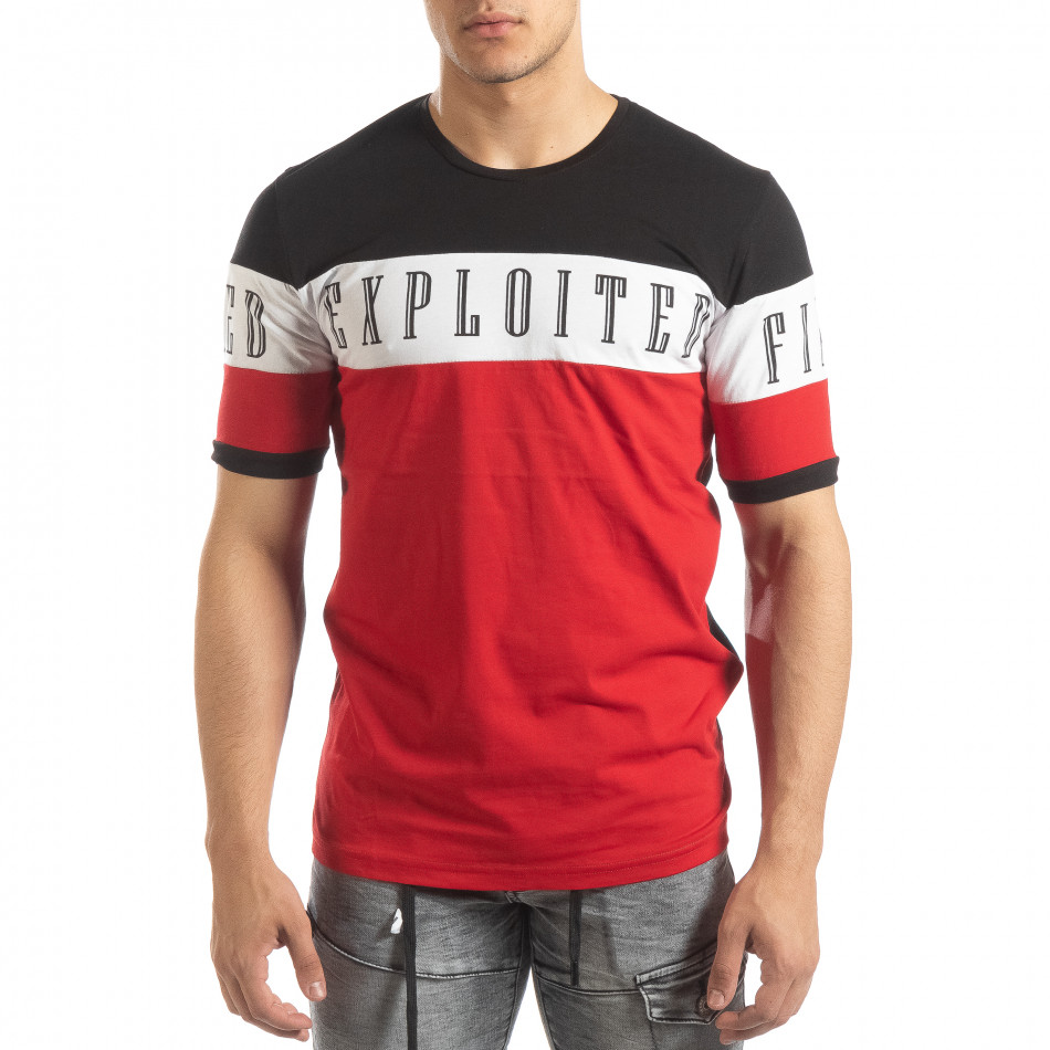 Ανδρική κοντομάνικη μπλούζα σε μαύρο και κόκκινο it150419-74