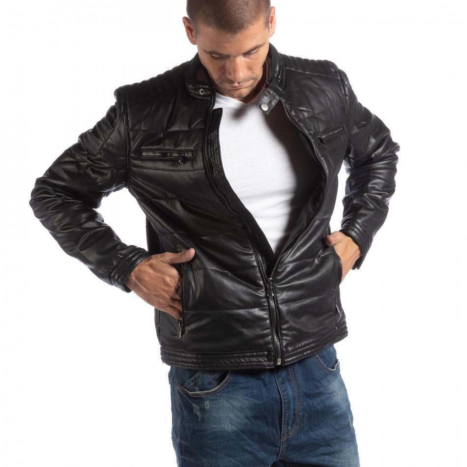 Ανδρικό μαύρο μπουφάν από συνθετικό δέρμα με γιακά μοα it250918-89