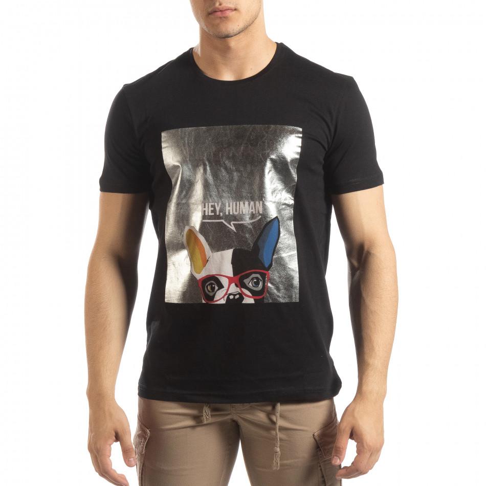 Ανδρική μαύρη κοντομάνικη μπλούζα με πριντ it150419-78