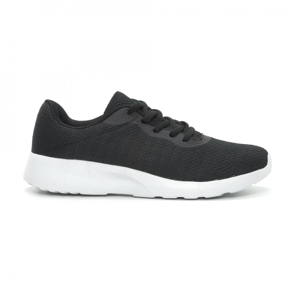 Ανδρικά μαύρα υφασμάτινα αθλητικά παπούτσια  it150319-3