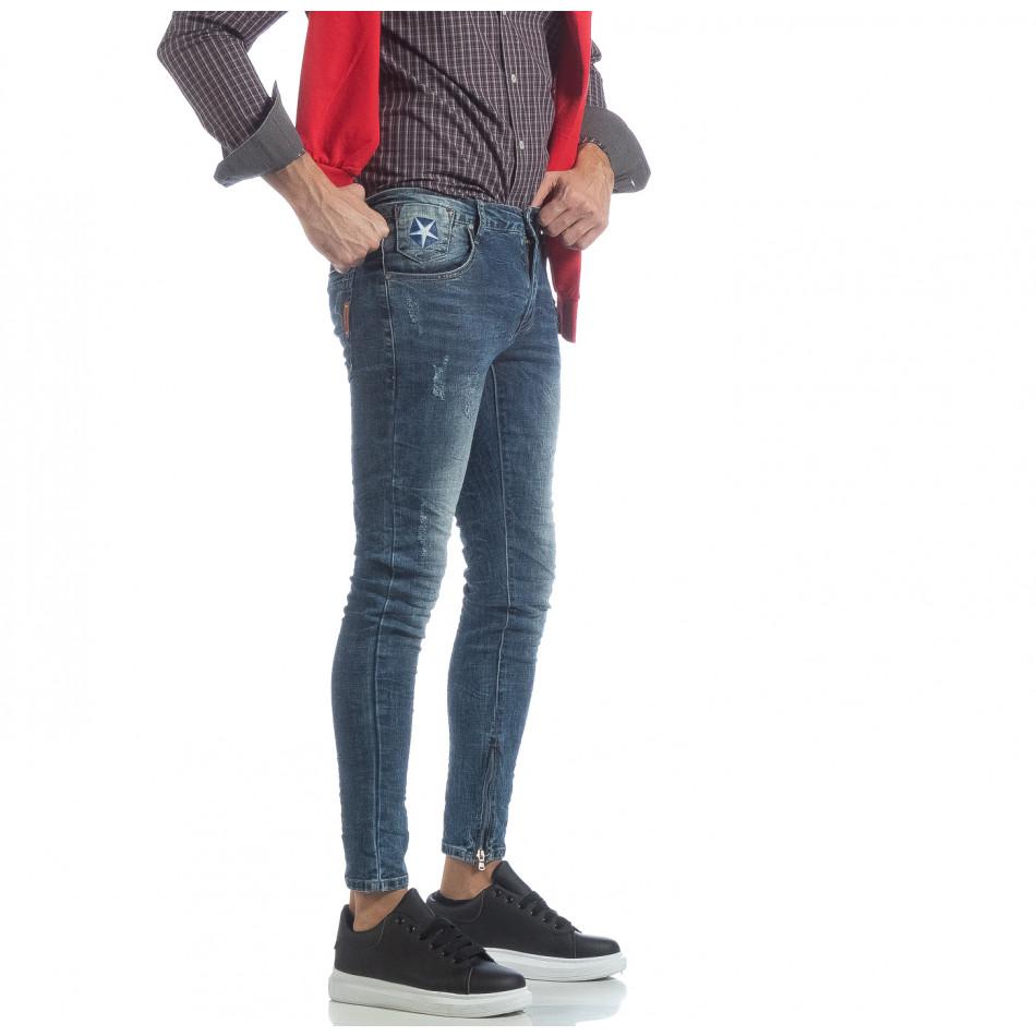 Ανδρικό γαλάζιο τζιν Slim fit με φερμουάρ it040219-9