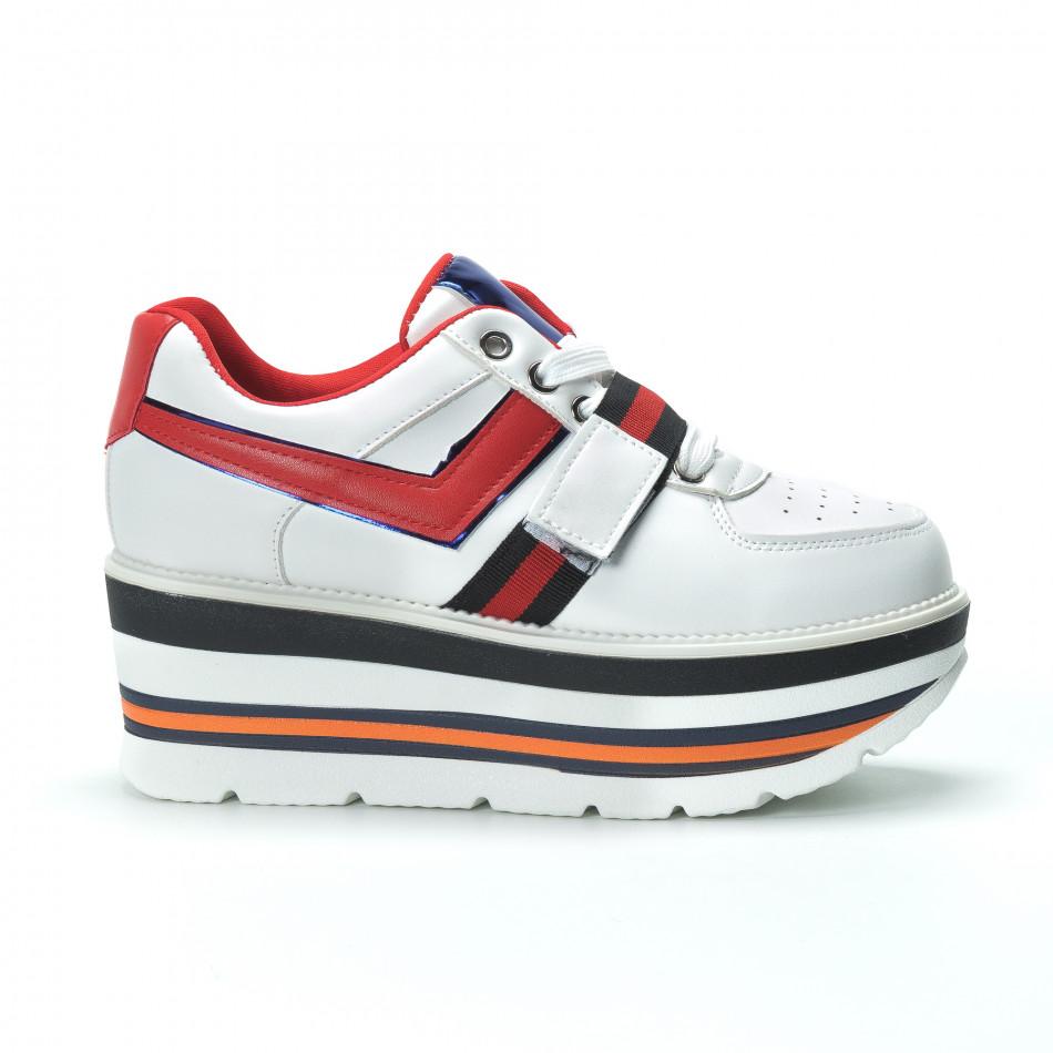 Γυναικεία λευκά sneakers με πλατφόρμα και πολύχρωμες διακοσμήσεις it250119-66