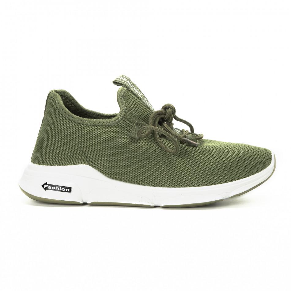 Πλεκτά ανδρικά πράσινα αθλητικά παπούτσια  it221018-37