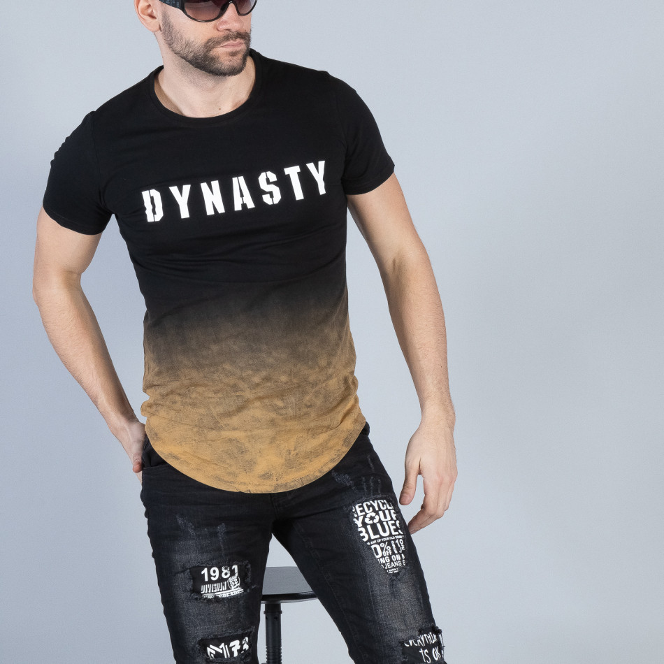 Ανδρική μαύρη κοντομάνικη μπλούζα Dynasty it040219-120