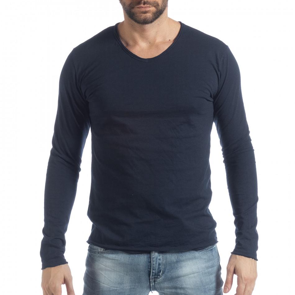 Ανδρική σκούρα μπλε μπλούζα V-neck it040219-90
