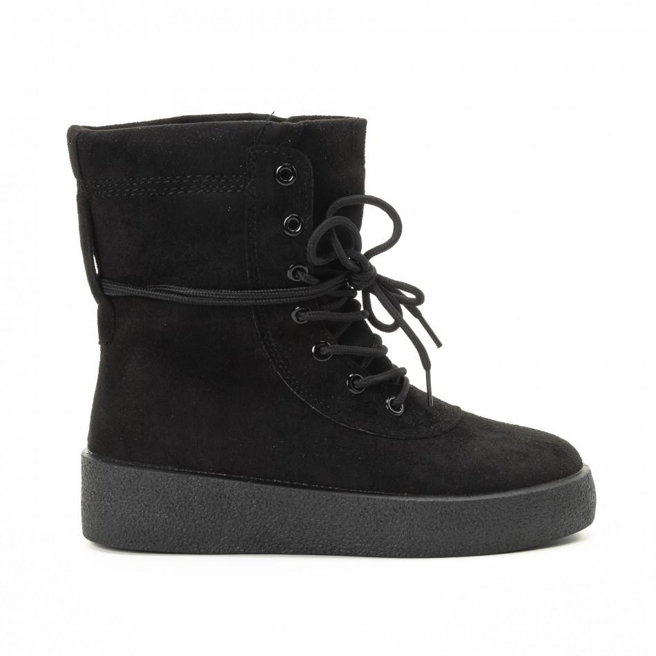 Basic γυναικεία ψηλά μαύρα sneakers   it221018-46