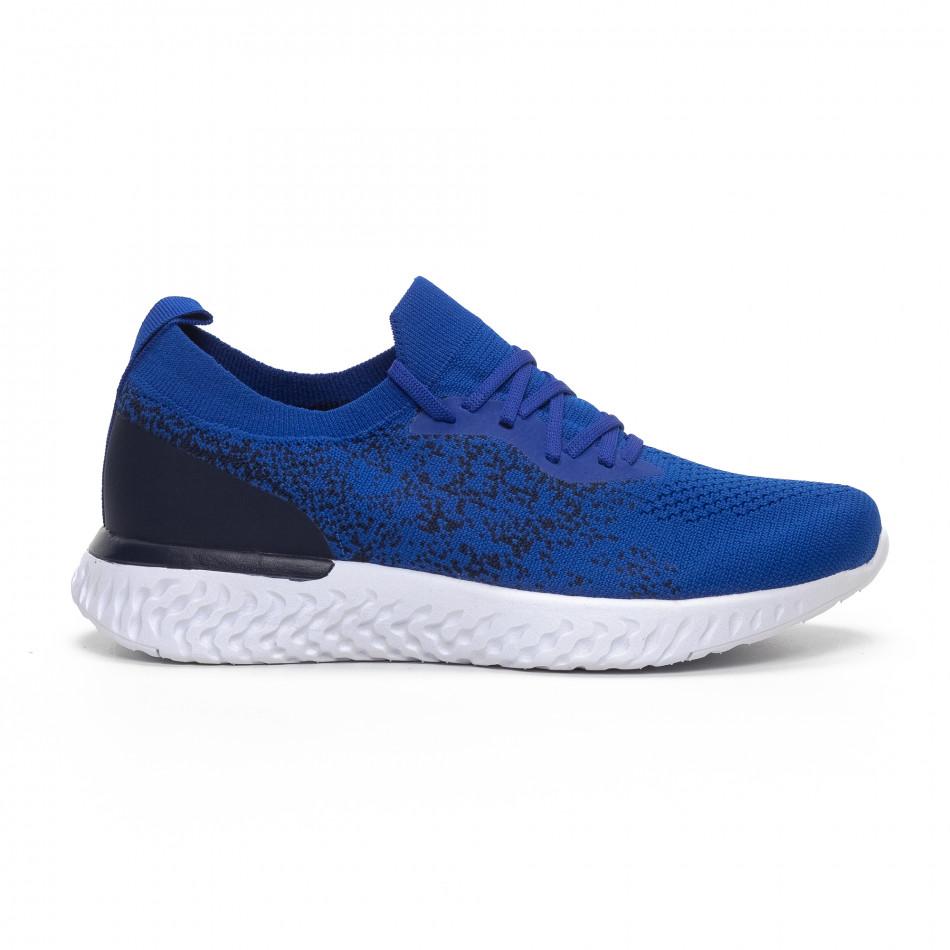 Ανδρικά μπλε αθλητικά παπούτσια καλτσάκι it240419-11