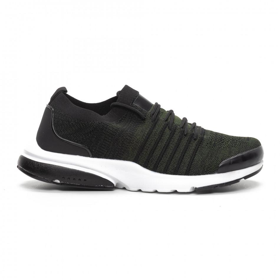 Ανδρικά πράσινα αθλητικά παπούτσια καλτσάκι ελαφρύ μοντέλο it240419-24