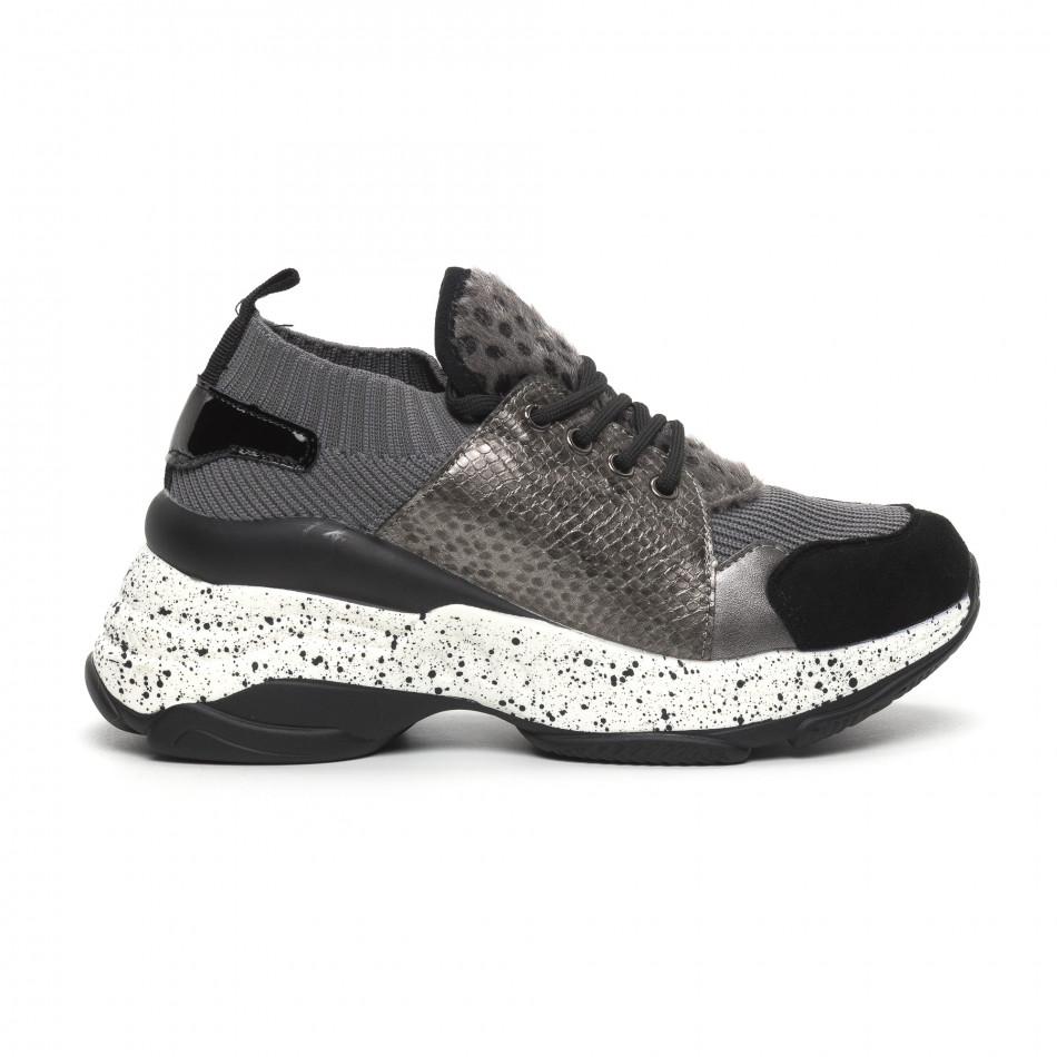 Γυναικεία γκρι αθλητικά παπούτσια Patchwork design it260919-81
