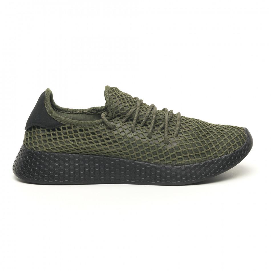 Ανδρικά πράσινα αθλητικά παπούτσια Mesh με μαύρη φτέρνα it251019-1