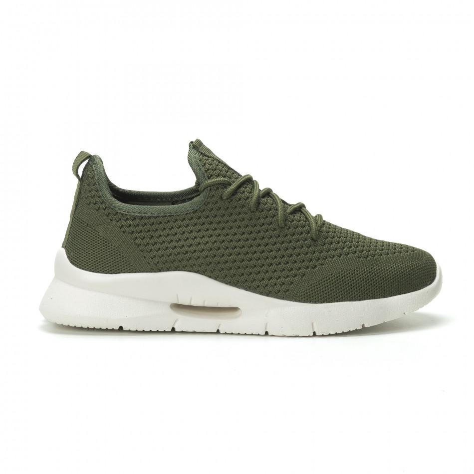 Ανδρικά πράσινα αθλητικά παπούτσια Hole design ελαφρύ μοντέλο it250119-22