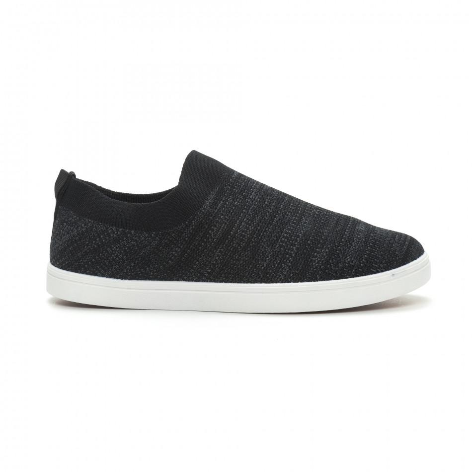 Ανδρικά μαύρα μελάνζ sneakers κάλτσα it150319-15