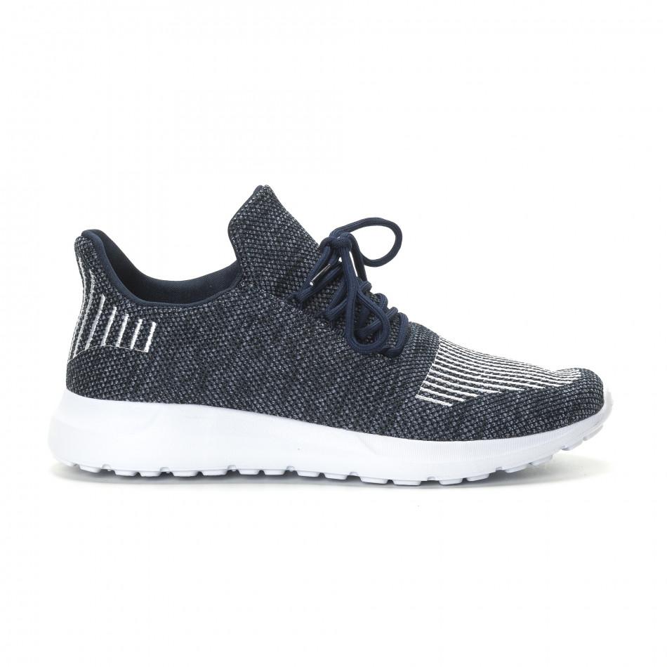 Ανδρικά μπλε μελάνζ αθλητικά παπούτσια με λευκές λεπτομέρειες it190219-7