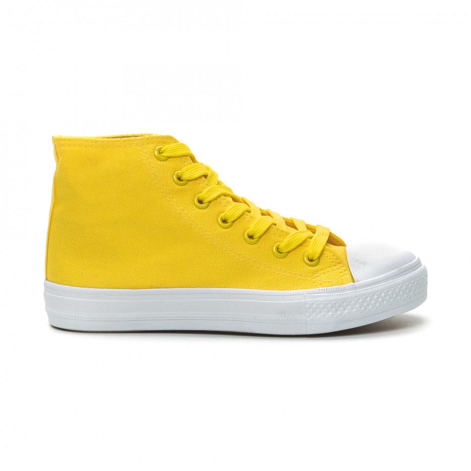 Γυναικεία Basic  κίτρινα ψηλά sneakers it150319-32