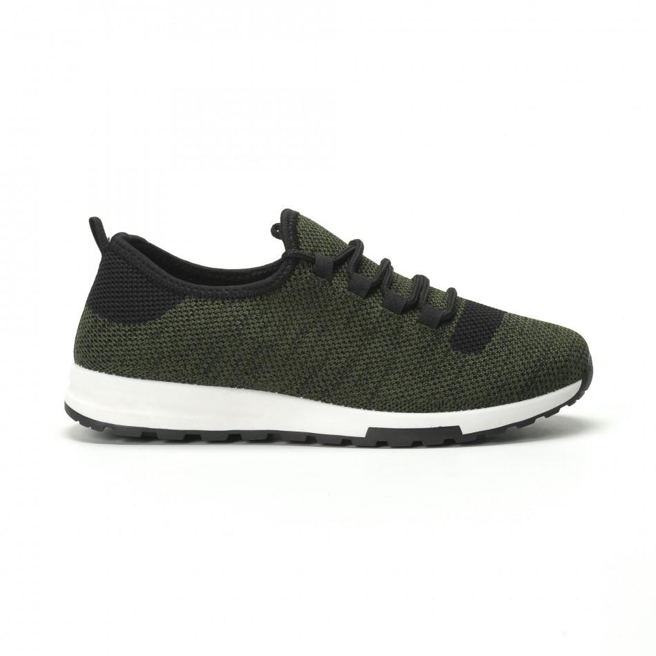Ανδρικά πράσινα μελάνζ αθλητικά παπούτσια ελαφρύ μοντέλο it250119-13