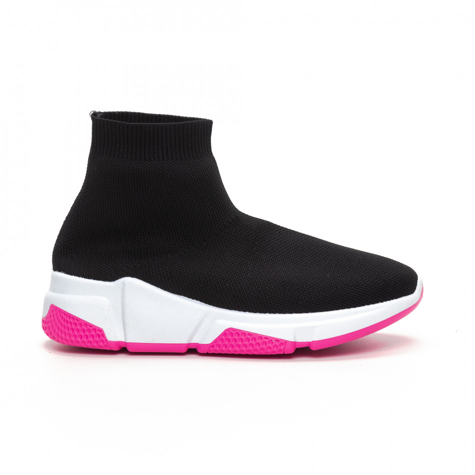 Γυναικεία μαύρα αθλητικά παπούτσια καλτσάκι με Chunky σόλα it240419-57