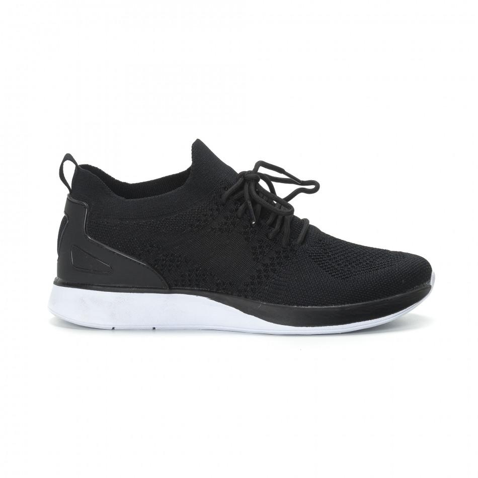Ανδρικά μαύρα πλεκτά αθλητικά παπούτσια  it190219-2
