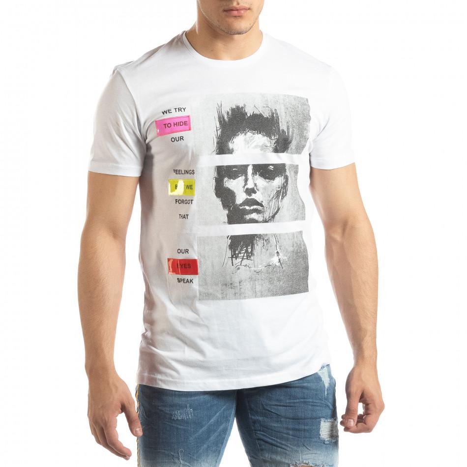 Ανδρική λευκή κοντομάνικη μπλούζα με νεον απλικέ it150419-68
