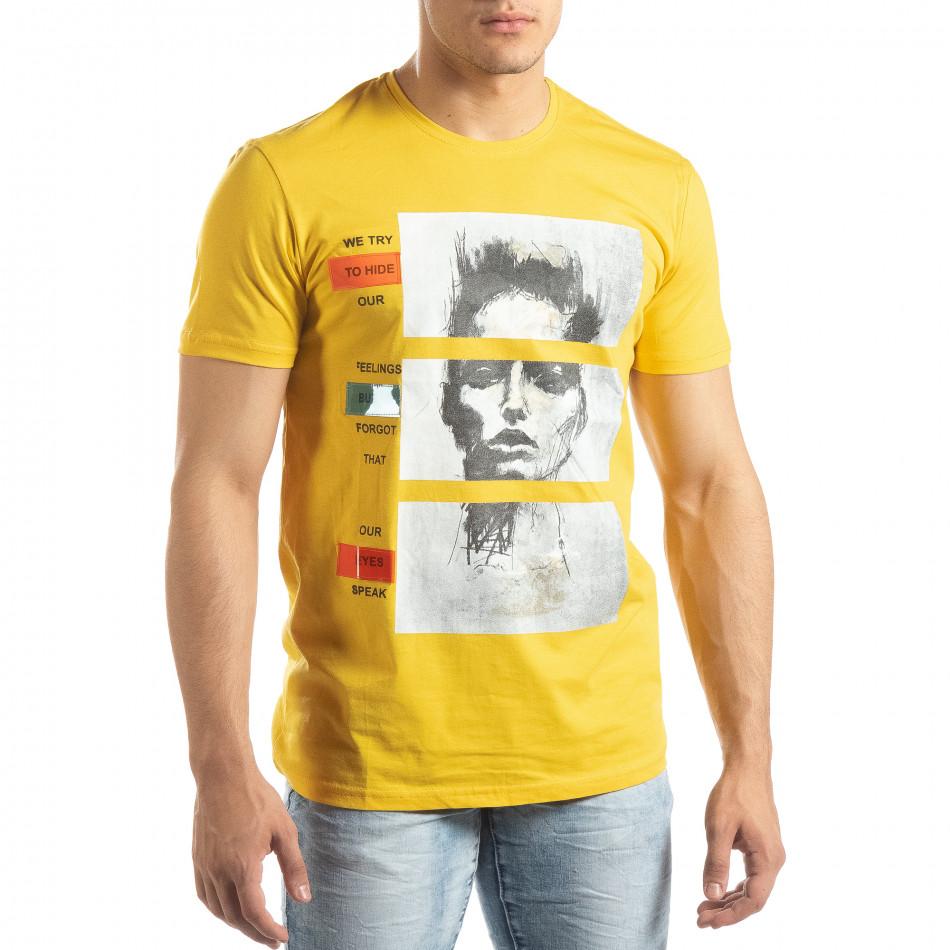 Ανδρική κίτρινη κοντομάνικη μπλούζα με νεον απλικέ it150419-67