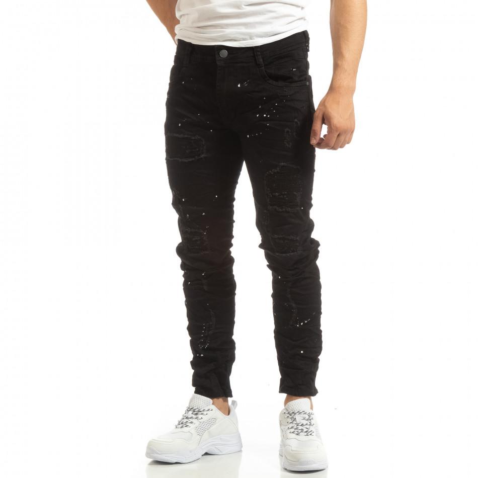 Ανδρικό μαύρο τζιν με διακοσμητικές πιτσιλιές μπογιάς it090519-3