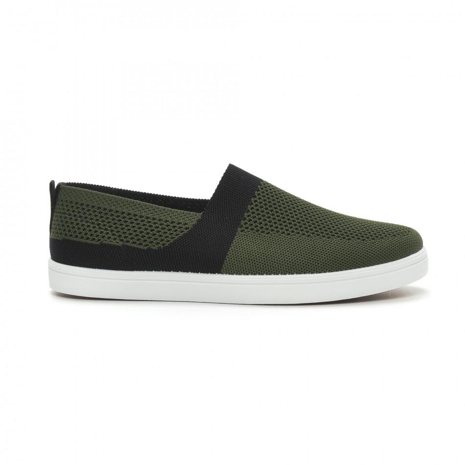 Ανδρικά πράσινα πλεκτά sneakers με μαύρες λεπτομέρειες it150319-19