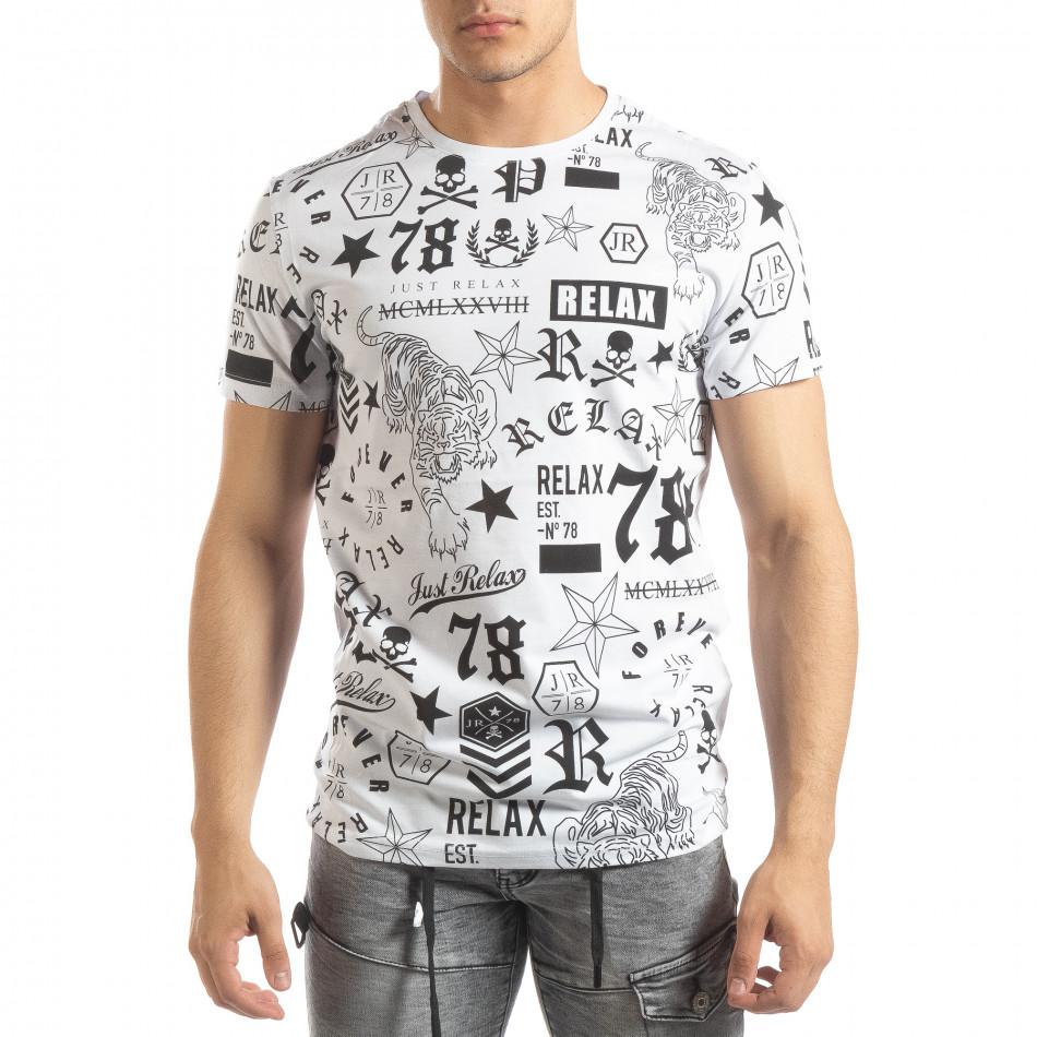 Ανδρική λευκή κοντομάνικη μπλούζα με σύμβολα it150419-71