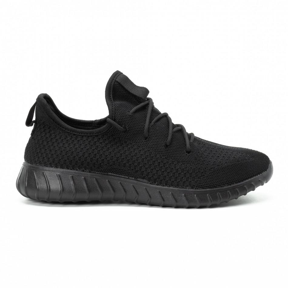 Ανδρικά μαύρα αθλητικά παπούτσια All black ελαφρύ μοντέλο it140918-10