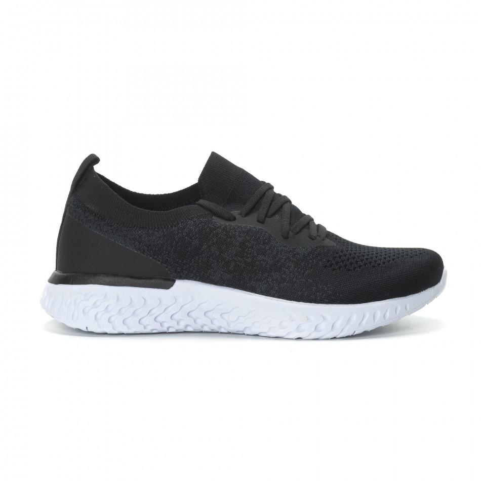 Ανδρικά μαύρα μελάνζ αθλητικά παπούτσια  it190219-1
