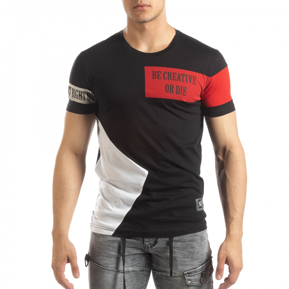 Ανδρική μαύρη κοντομάνικη μπλούζα Be Creative it150419-65