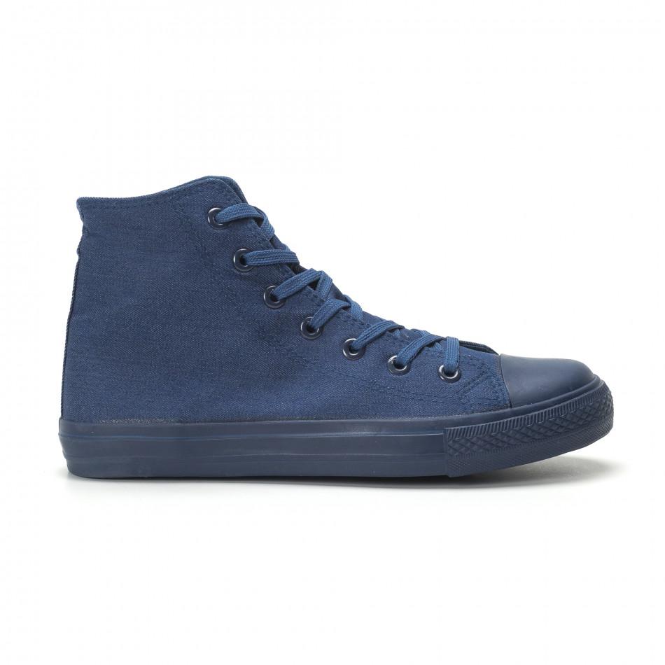 Ανδρικά μπλε ψηλά sneakers κλασικό μοντέλο it250119-2