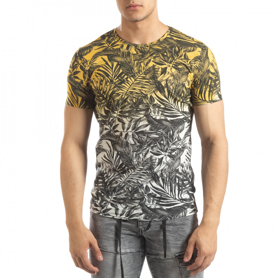 Ανδρική κίτρινη κοντομάνικη μπλούζα Leaves μοτίβο it150419-107