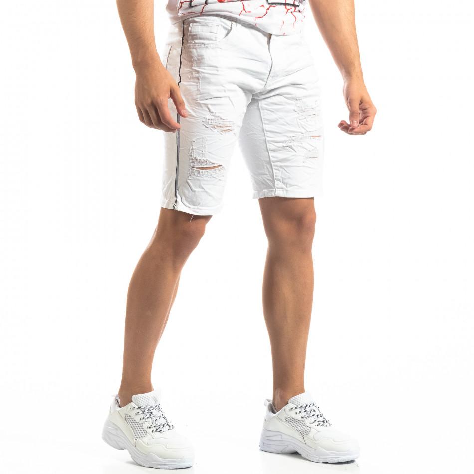 Ανδρική λευκή τζιν βερμούδα με σκισίματα it150419-13