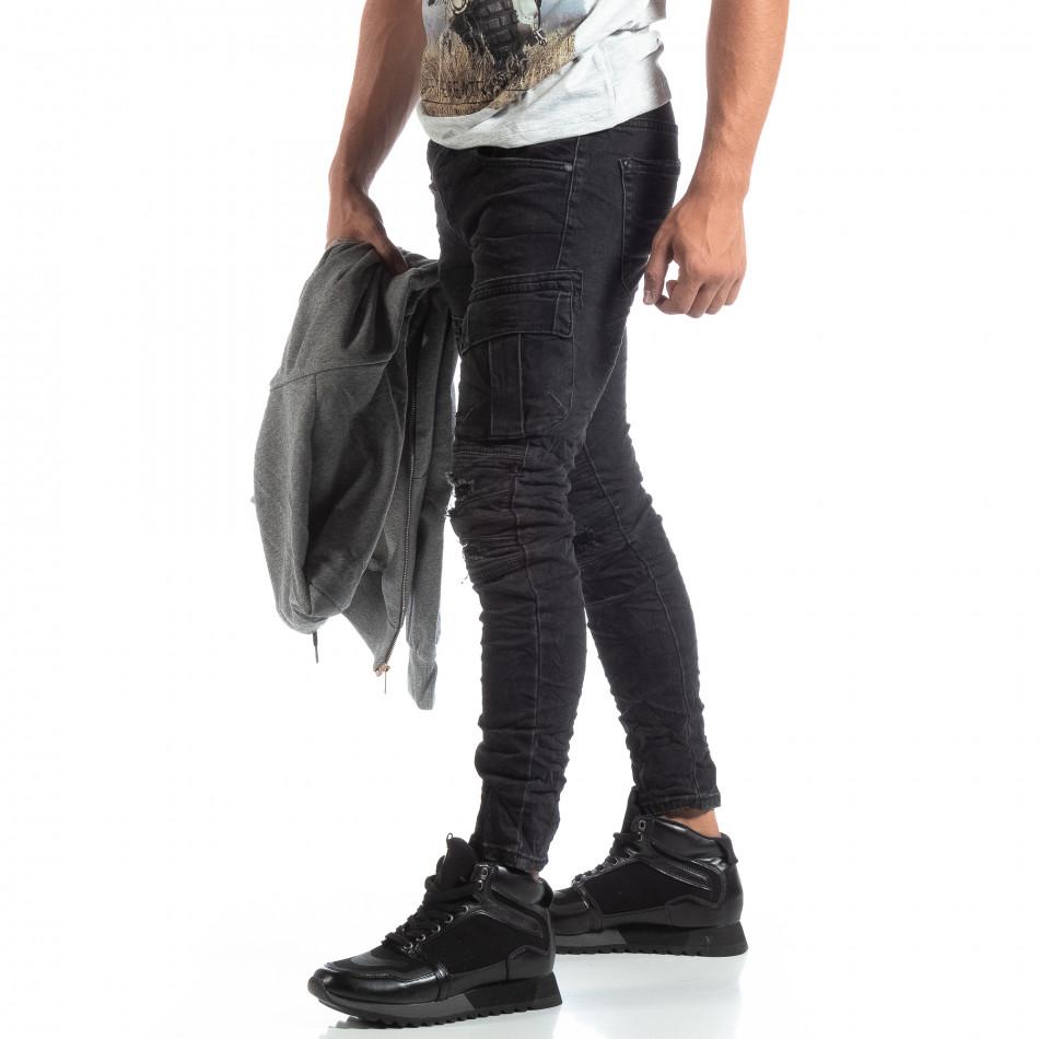 Ανδρικό μαύρο Cargo Jeans σε ροκ στυλ it170819-53