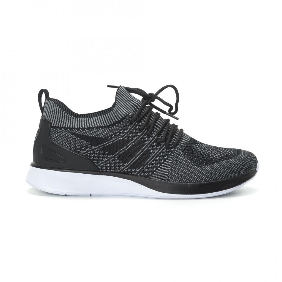 Ανδρικά μαύρα πλεκτά αθλητικά παπούτσια με γκρι λεπτομέρειες it190219-3