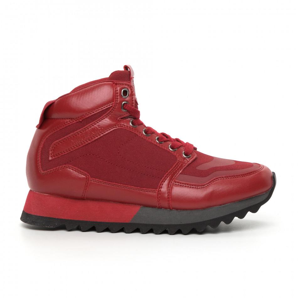 Ανδρικά ψηλά κόκκινα αθλητικά παπούτσια  it130819-25