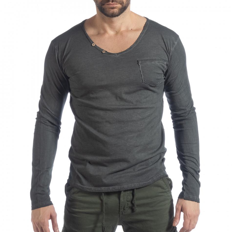 Ανδρική γκρι μπλούζα Vintage στυλ it040219-82