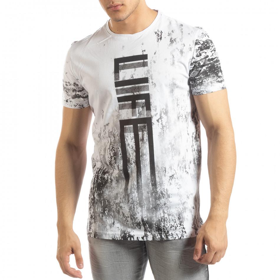 Ανδρική λευκή κοντομάνικη μπλούζα LIFE με πριντ it150419-52