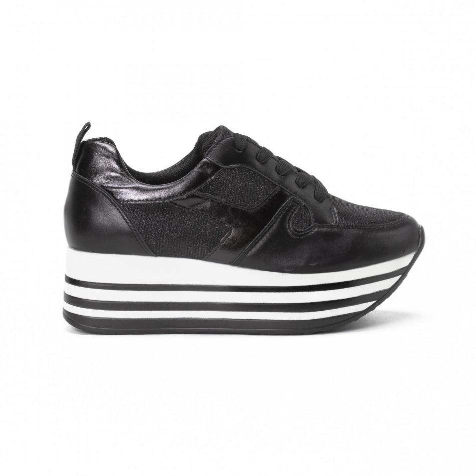 Γυναικεία μαύρα sneakers με χρυσόσκονη και πλατφόρμα it150818-29